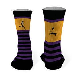 Running Printed Mid Calf Socks Witch Running