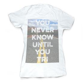 Vintage Triathlon T-Shirt - You Never Know Until You Tri