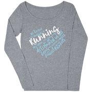 Women's Runner Scoop Neck Long Sleeve Tee - Live Love Run Heart