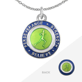 Runner's Creed Pendant Necklace - 1.5cm Green/Navy