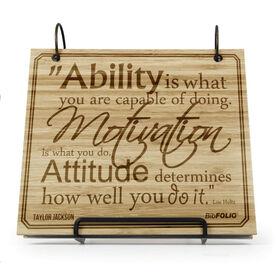 Engraved Bamboo Wood BibFOLIO  Ability, Motivation, & Attitude Quote