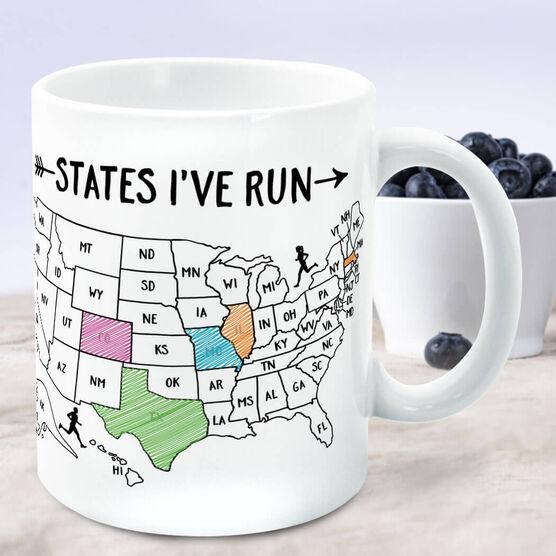 Running Coffee Mug - States I've Run Outline