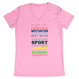 Women's Customized Pink Short Sleeve Tech Tee Running Is My Passion
