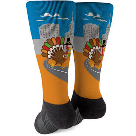 Running Printed Mid-Calf Socks - Turkey Trot