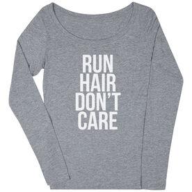 Women's Runner Scoop Neck Long Sleeve Tee - Run Hair Don't Care