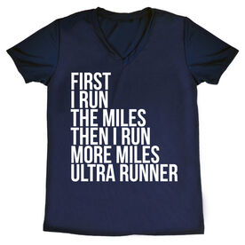Women's Running Short Sleeve Tech Tee - Then I Run More Miles Ultra Runner