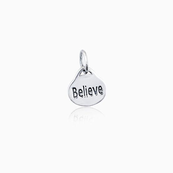 Sterling Silver Believe Oval Charm