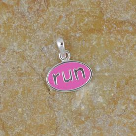 Sterling Silver and Pink Enamel Mini Run Charm