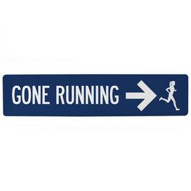 """Running Aluminum Room Sign - Gone Running Girl (4""""x18"""")"""