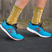 Running Printed Mid-Calf Socks - Paw Prints
