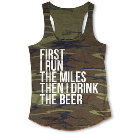 Running Camouflage Racerback Tank Top - Then I Drink The Beer