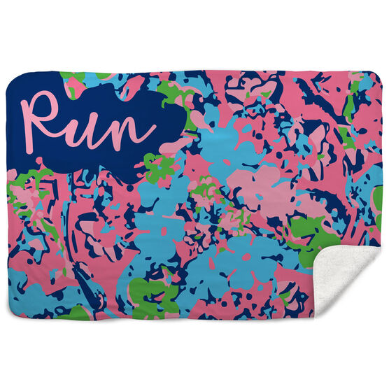 Running Sherpa Fleece Blanket - Run Floral