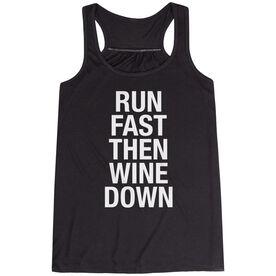 Running Flowy Racerback Tank Top - Run Fast Then Wine Down