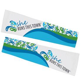 Running Printed Arm Sleeves - She Runs This Town Logo Swirl Pattern