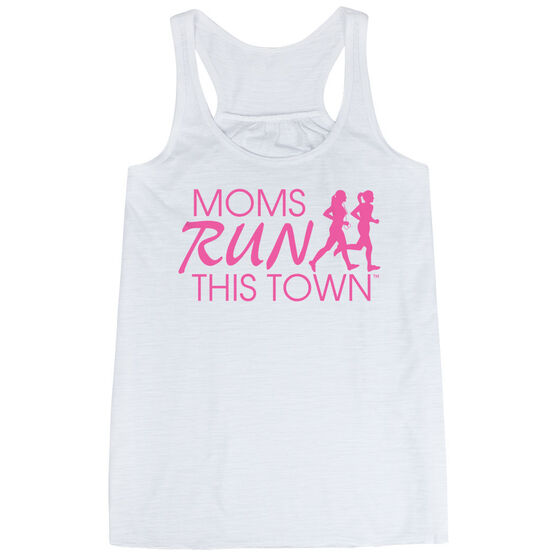 Flowy Racerback Tank Top - Moms Run This Town Logo (Pink)