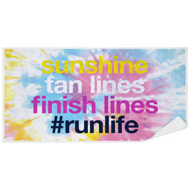 Running Premium Beach Towel - Sunshine Tan Lines Finish Lines Tie-Dye