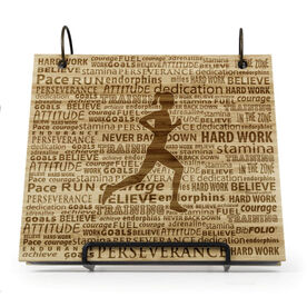 Engraved Bamboo Wood BibFOLIO® Race Bib Album - Running Inspiration Female