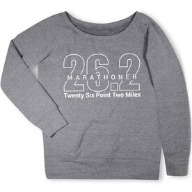 Running Fleece Wide Neck Sweatshirt - Marathoner 26.2 Miles