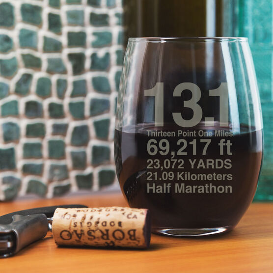 Running Stemless Wine Glass 13.1 Math Miles