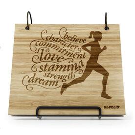 Engraved Bamboo Wood BibFOLIO® Race Bib Album - Believe Running Girl