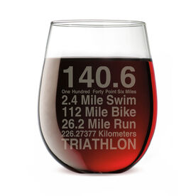 Triathlon Stemless Wine Glass 140.6 Math Miles