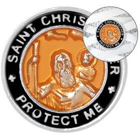 LaceBLING Shoelace Charm - St. Christopher (Orange/Gray)