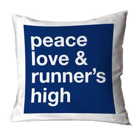 Running Throw Pillow - Peace Love & Runner's High