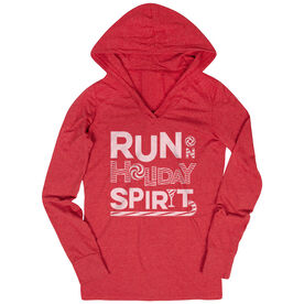 Women's Running Lightweight Performance Hoodie -  Run On Holiday Spirit
