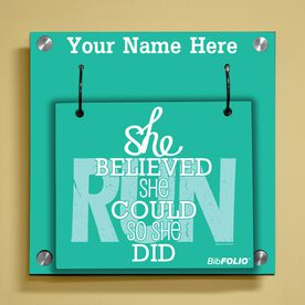 Personalized She Believed She Could So She Did Wall BibFOLIO® Display