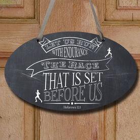 Vintage Let Us Run Decorative Oval Sign