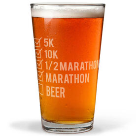 Runners Checklist 16 oz Beer Pint Glass