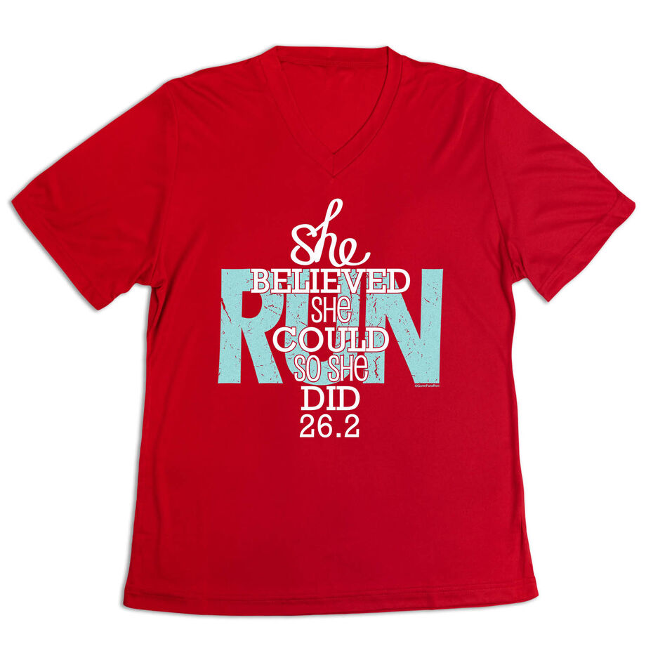 Women's Short Sleeve Tech Tee - She Believed She Could So She Did 26.2