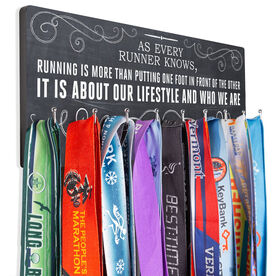 Running Hooked on Medals Hanger - Chalkboard As Every Runner Knows