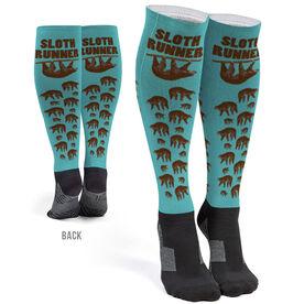 Running Printed Knee-High Socks - Sloth Runner