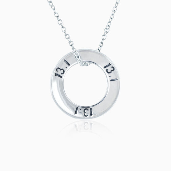 Sterling Silver 13.1 Half Marathon Message Ring Necklace