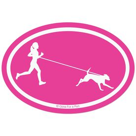 Runner Girl with Dog Decal - Pink