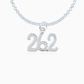 Sterling Silver 26.2 Marathon Necklace (Rounded)
