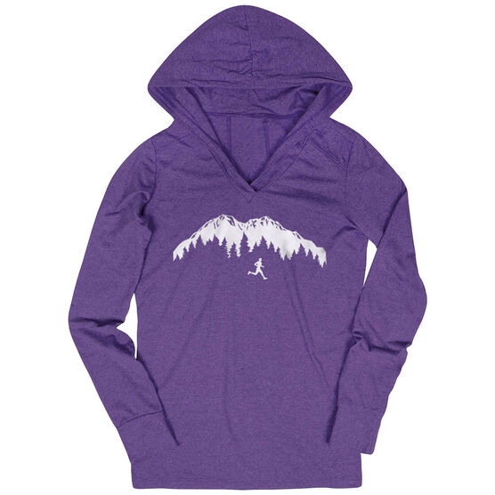 Women's Running Lightweight Performance Hoodie - Trail Runner in the Mountains
