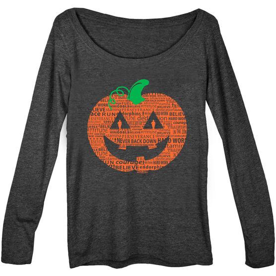 Women's Runner Scoop Neck Long Sleeve Tee PR Pumpkin