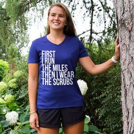 Women's Running Short Sleeve Tech Tee - Then I Wear The Scrubs