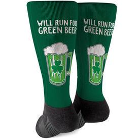 Running Printed Mid-Calf Socks - Will Run For Green Beer