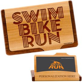 Swim, Bike, Run Words Maple Business Card/Credit Card Holder