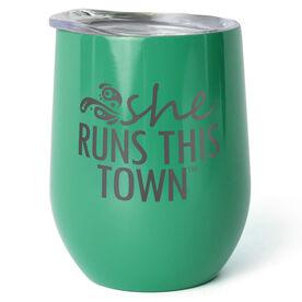 Running Stainless Steel Wine Tumbler - She Run This Town Logo