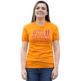 Running Short Sleeve T-Shirt - Moms Run This Town Logo (Pink)