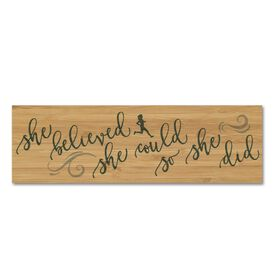 """Running 12.5"""" X 4"""" Printed Bamboo Removable Wall Tile - She Believed She Could So She Did"""