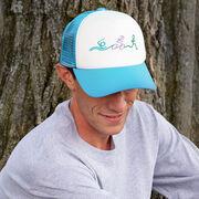 Triathlon Trucker Hat Swim Bike Run Stick Figures