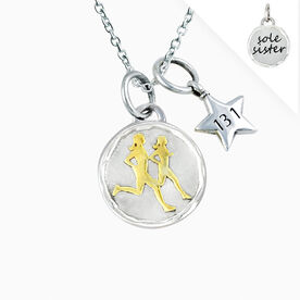 Livia Collection Sterling Silver and 14K Gold Vermeil Sole Sister Token 13.1 Necklace