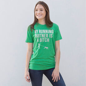 Running Short Sleeve T-Shirt - My Running Partner Is A Bitch (Bold)