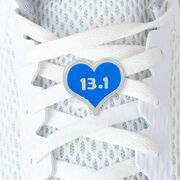 LaceBLING Shoelace Charm - 13.1 Half Marathon Blue Heart