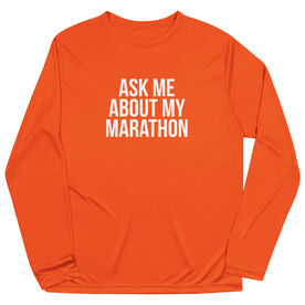 Men's Running Long Sleeve Tech Tee - Ask Me About My Marathon